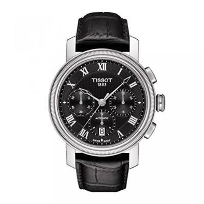 ティソ 腕時計 メンズウォッチ Tissot Men's 'Bridgeport' Swiss Automatic Stainless Steel and Leather Casual Watch, Color:Black (Model: T0974271605300)