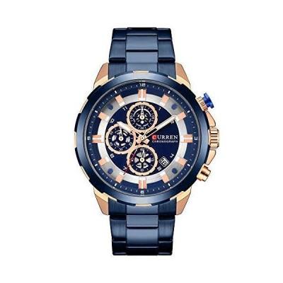 Mens Watches,CURREN Quartz Analog Calendar,Wrist Watch for Men, Fashion Waterproof Stainless Steel Band-Blue【並行輸入品】