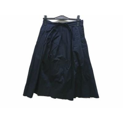 マーガレットハウエル MargaretHowell スカート サイズ1 S レディース 美品 - ダークネイビー ひざ丈【中古】20210210