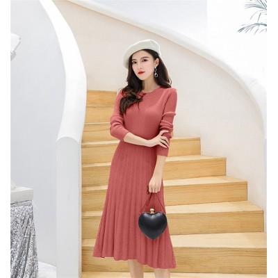 [55555SHOP]2018新品 大人気❤ 韓国ファッション   CHIC気質   細身   ニット   ワンビース