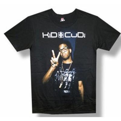 ファッション トップス Kid Cudi-Peace Sign-Black Lightweight T-shirt