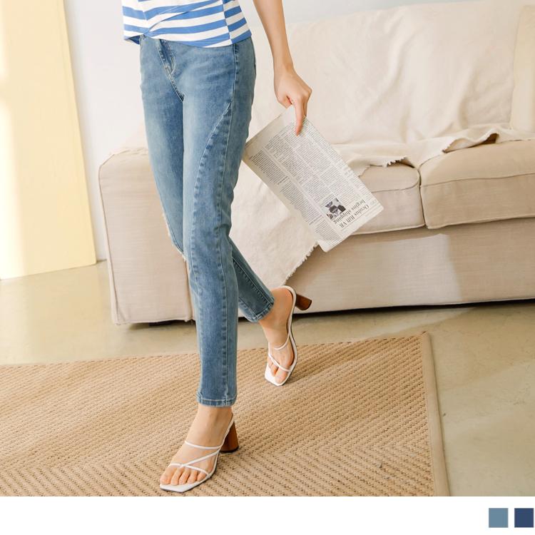 纖腿剪裁美型牛仔丹寧八分窄管褲