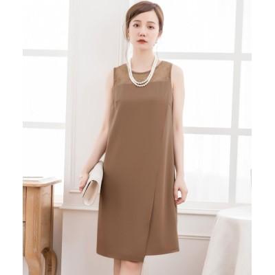 【ドレス スター】 結婚式・お呼ばれ・フォーマル対応巻きスカート風アシンメトリーなスカートデザインドレス レディース ブラウン Mサイズ DRESS STAR