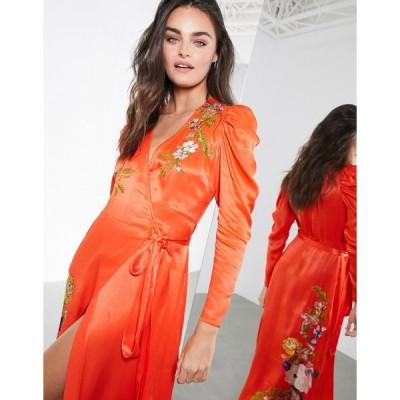 エイソス ミディドレス レディース ASOS EDITION floral embroidered wrap midi dress エイソス ASOS レッド 赤