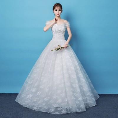 ウエディングドレス レディース プリンセスドレス ブライダルドレス 花嫁 編み上げ Aライン ロング丈 演奏会 前撮り ドレス