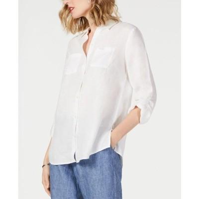 チャータークラブ カットソー トップス レディース Linen Shirt, Created for Macy's Bright White