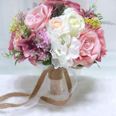 送料無料◆ウエディングブーケ ブートニア 手首の花 花束 花飾り 結婚式 バラ造花 成品 ウェディング用 アレンジメント 花嫁 披露宴 手作りブライダルブーケ