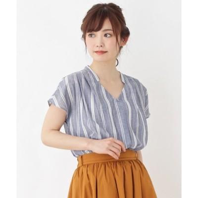 シャツ ブラウス 【WEB限定サイズあり】リネン調スキッパーシャツ