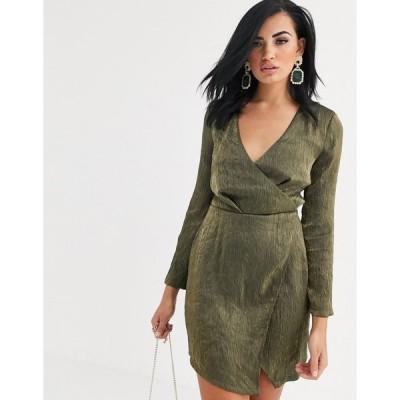 ガールコード ミニドレス レディース The Girlcode plunge mini dress with split in green エイソス ASOS グリーン 緑