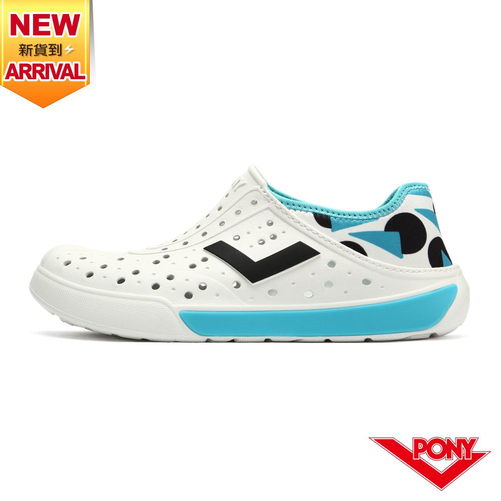 【PONY】ENJOY洞洞鞋 踩後跟 雨鞋 水鞋 中性款-幾何/翠藍