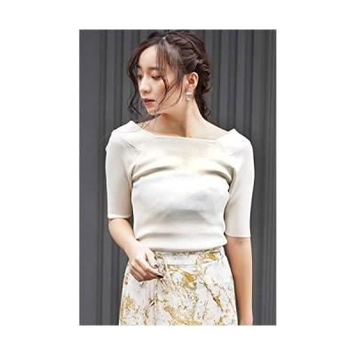 フリーズマート セーター 総針スクエアネック半袖ニット レディース オフホワイト 日本 FR (FREE サイズ)