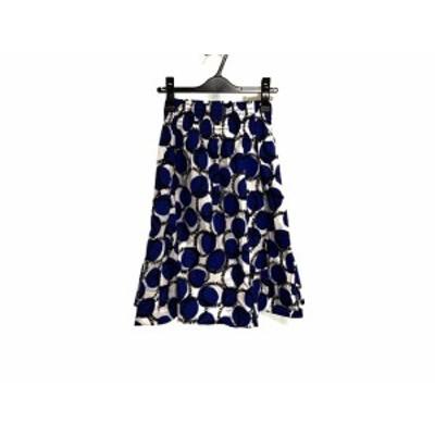 ケイトスペード Kate spade ロングスカート サイズ0 XS レディース 美品 - アイボリー×ブルー×黒【中古】20200708