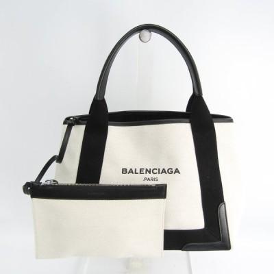 バレンシアガ ネイビーカバスS 339933 レディース キャンバス,レザー ハンドバッグ ブラック,オフホワイト