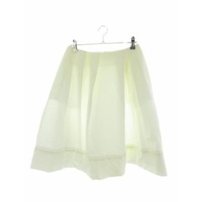 【中古】エムプルミエ M-Premier COUTURE スカート フレア ひざ丈 無地 38 白 ホワイト /M1 レディース