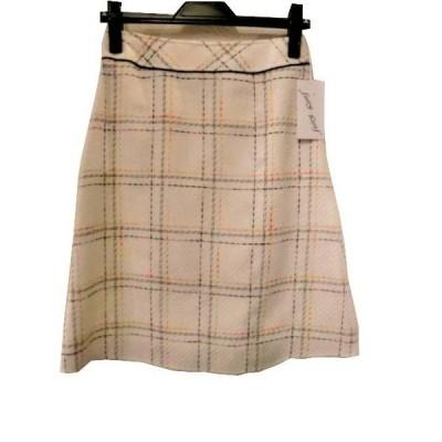 レディースファッション スカート 秋冬モデル チェック柄フレアスカート 日本製 サービス品 ホワイト 61cm