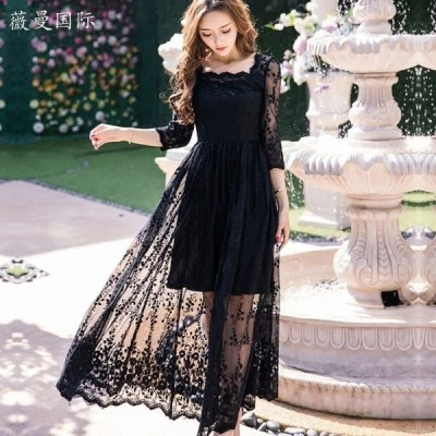 ドレス シースルーレースロングドレス(ブラック) パーティー 結婚式 二次会 発表会 演奏会 レストラン デート