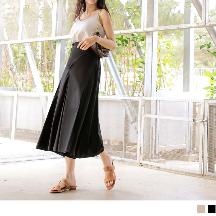 純色高含棉斜釦後鬆緊八分寬褲裙