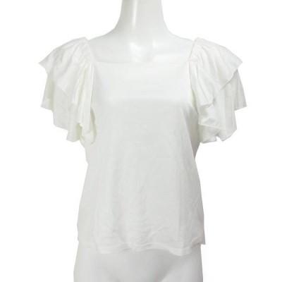 クイーンズコート白半袖フリルブラウス