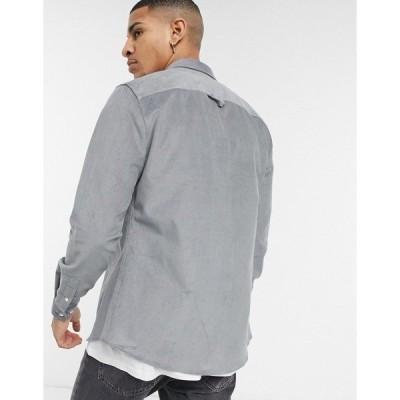 リバーアイランド メンズ シャツ トップス River Island slim fit cord shirt in gray Light gray