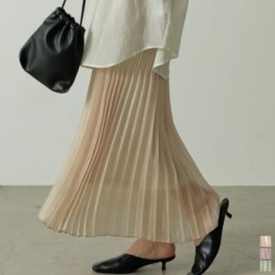 [低身長サイズ有]ランダムプリーツシャイニーロングスカート