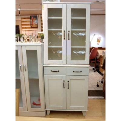かわいいフレンチカントリー風、パイン材の木製ホワイトカラーの70cm幅食器棚