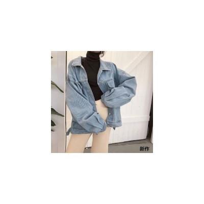 デニムジャケット レディース アウター デニム ジャケット ショート丈 長袖 ロゴ付き ゆったり プリント 個性 春秋 新作