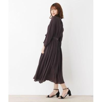 【グローブ】 キャミドレス付きベルテッドシャツワンピース レディース ダーク ブラウン 03(L) grove