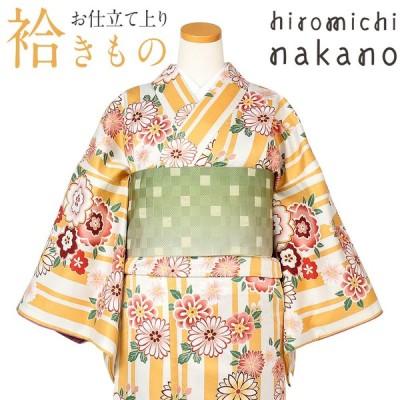 着物 小紋 袷 薄橙 ストライプに八重桜 菊 M Lサイズ ナカノヒロミチ ブランド レディース