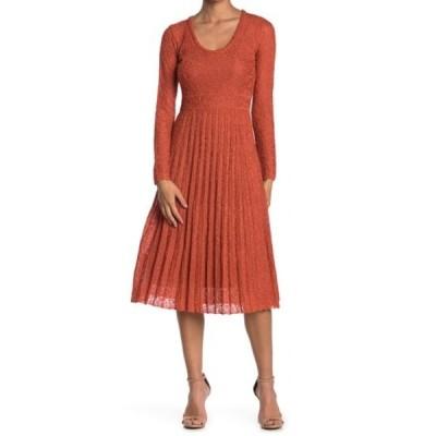 エム ミッソーニ レディース ワンピース トップス Pleated Metallic Knit Midi Dress BRICK RED