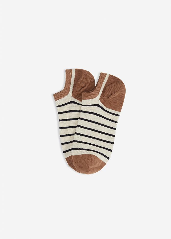 (男款)城市光影.舒棉船型襪(米灰/黑條紋)