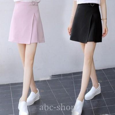 ハート装飾スリットデザインプリーツスカートミニスカートベーシック着心地の良いスカートwear.com