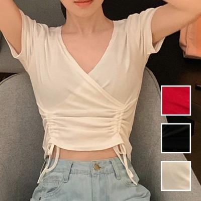 韓国 ファッション レディース トップス Tシャツ カットソー 夏 春 カジュアル ショート 肌見せ 深Vネック ギャザー キュート naloI532 20代 30代 40代