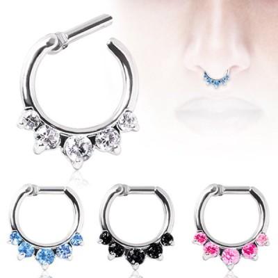 WildKlass Jewelry Septum Ring Clicker 316L Surgical Steel Gemmed Princ