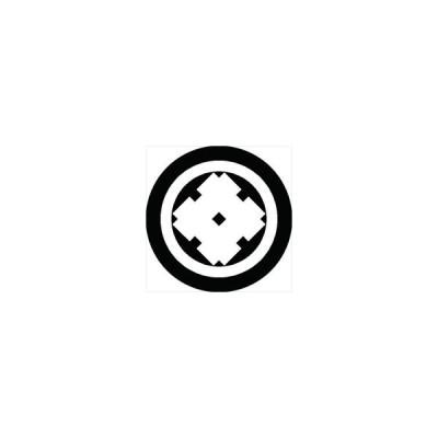 家紋シール 丸に角立て太い井筒紋 直径4cm 丸型 白紋 4枚セット KS44M-0476W