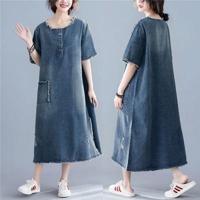 ワンピース デニムサロペット レディース 綿 コットン半袖 ゆったり Aライン 体型カバー スカート オーバーオール 薄手