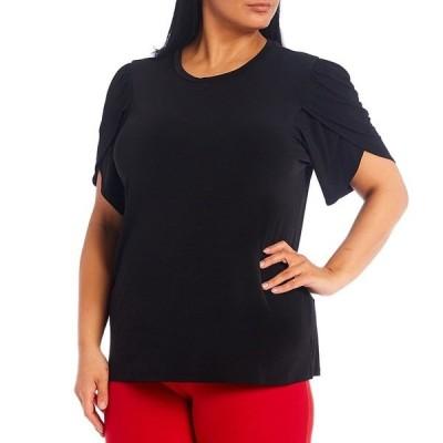 マイケルコース レディース Tシャツ トップス MICHAEL Michael Kors Plus Size Solid Lux Matte Jersey Tulip Sleeve Top Black