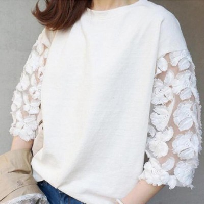 Tシャツ レディース 七分袖 カットソー 刺繍 大人可愛い トップス 白 即納