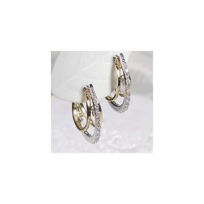 ダイヤモンド 3連 0.12ct デザイン ピアス K18WG/YG pa2570