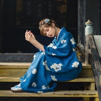 レディース浴衣 女性浴衣 柄物 おび 帯 花火大会 夏物 夏レディース ブルー 花柄 デート お花見 夏祭り