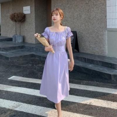 [レディース] フラットネック ワンピース: 韓国風 気質 スカート ひざ丈