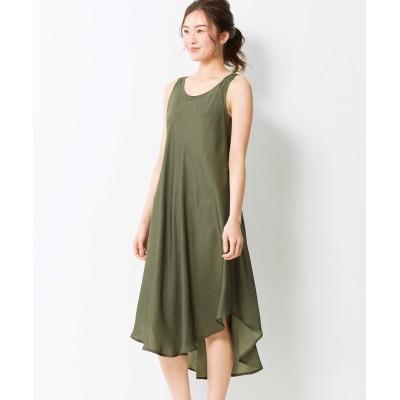 大きいサイズ とろみアシメデザインワンピース(薄手素材) ,スマイルランド, ワンピース, plus size dress