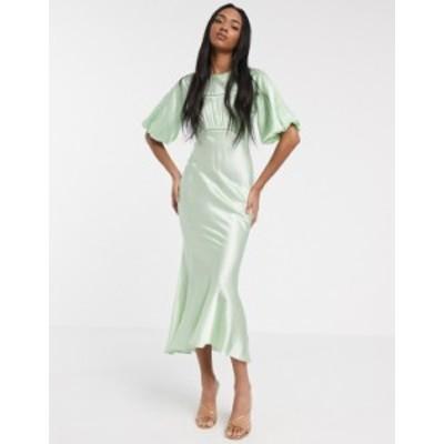 エイソス レディース ワンピース トップス ASOS DESIGN satin midi tea dress with lace inserts in green Apple green