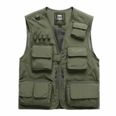 メンズ's Summer 釣り Hunting アウトドア Climbing Trekking Vest Male Sleeveless Multi-Pocket Q