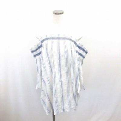 【中古】BEC&BRIDGE ワンピース ひざ丈 ストライプ オフショルダー 綿 コットン 七分袖 8 白 紺 ホワイト ネイビー