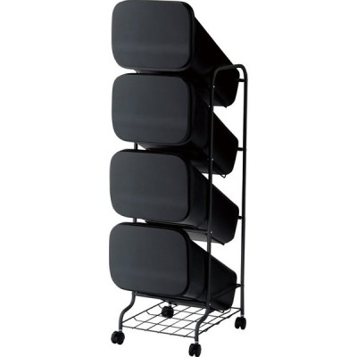 リス RISU ゴミ箱 smooth スタンドダストボックス4P スリム 20L×4 ブラック GBBH004