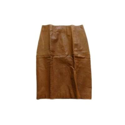 【中古】バジーレ BASILE 28 レザー タイト スカート 膝丈 羊革 40 茶 ブラウン レディース♪1  【ベクトル 古着】