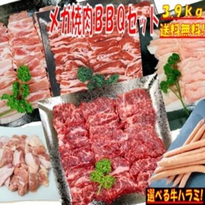 味付けハラミおまけ付 バーベキュー 食材 3.9kg BBQ 肉 焼肉セット 牛カルビ 牛バラ 豚カルビ 豚バラ 鶏もも肉 バーベキュー 肉 豚トロ