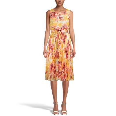 アイエヌシーインターナショナルコンセプト ワンピース トップス レディース INC Floral-Print Pleated Midi Dress,  Sole/Chile Multi