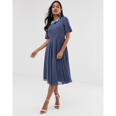 エイソス レディース ワンピース トップス ASOS DESIGN crop top embellished neckline midi dress