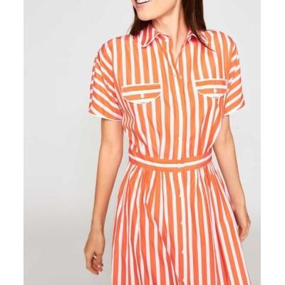 TARA JARMON/タラジャーモン コットンストライプドレス 【洗える】 オレンジ 40